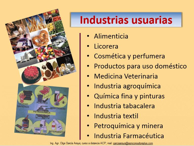 Industrias usuarias de las Plantas Aromáticas