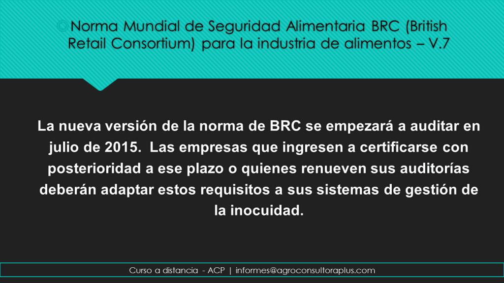 Plazos BRC